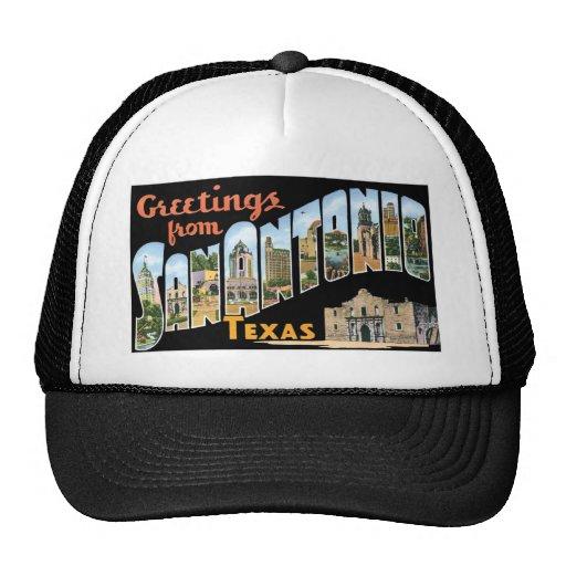 Greetings from San Antonio, Texas! Retro Post Card Trucker Hat