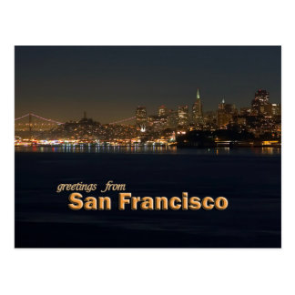 Greetings From San Francisco - Night Shoreline Postcard