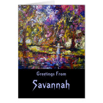 savannah, georgia, ghosts, spirits, bird girl, garden, parks, purple, pink, blue, travel, stories, myths, history, legends, water, landscape, ginette, fine art, art, paintings, oil paintings, oil, Card with custom graphic design