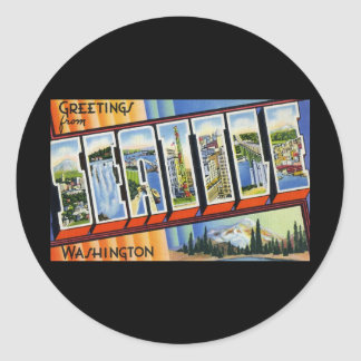 Greetings from Seattle Washington Classic Round Sticker