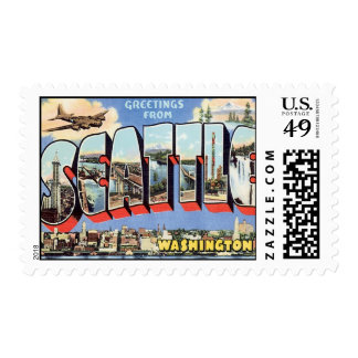 Greetings From Seattle, Washington Postage Stamps