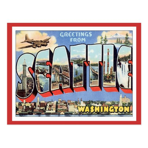 Greetings From Seattle, Washington USA Post Card