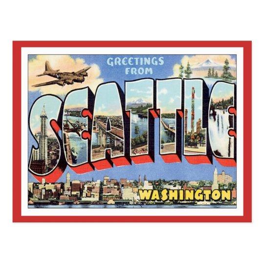 Greetings From Seattle, Washington USA Postcard