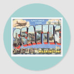 Greetings From Seattle, Washington USA Round Stickers