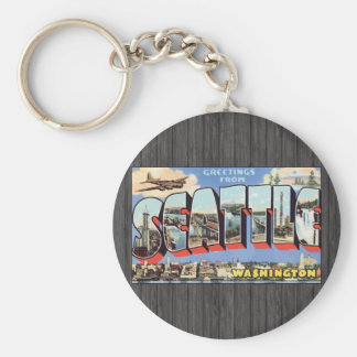 Greetings From Seattle Washington, Vintage Basic Round Button Keychain