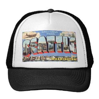 Greetings From Seattle Washington, Vintage Mesh Hats