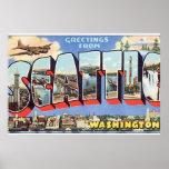 Greetings from Seattle Washington_Vintage Travel Poster