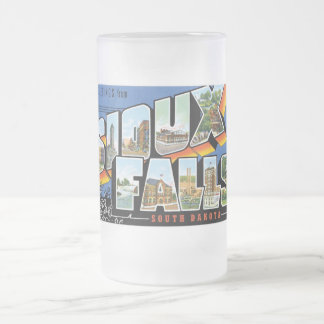 Greetings from Sioux Falls, South Dakota! Retro Frosted Glass Beer Mug