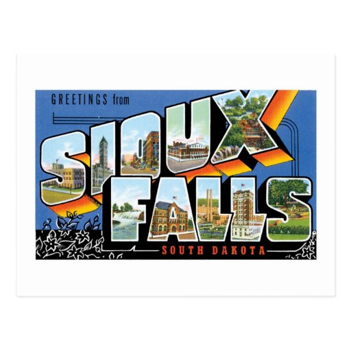 Greetings from Sioux Falls, South Dakota! Retro Post Card