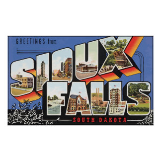 Greetings From Sioux Falls South Dakota, Vintage Poster