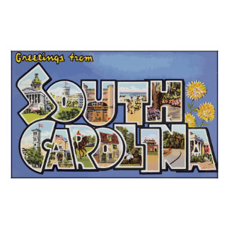 Greetings From South Carolina, Vintage Poster