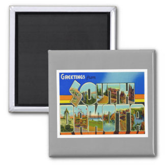 Greetings From South Dakota 2 Inch Square Magnet