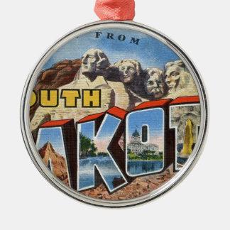 Greetings From South Dakota Metal Ornament
