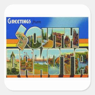 Greetings From South Dakota Square Sticker