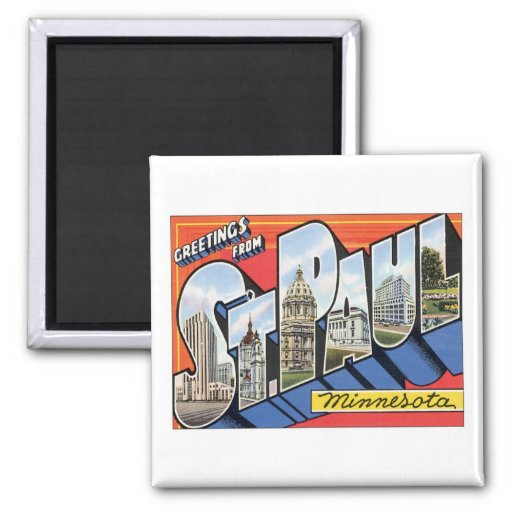 Greetings From St.Paul Minnesota 2 Inch Square Magnet