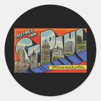 Greetings from St. Paul Minnesota Classic Round Sticker