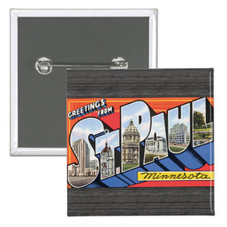 Greetings From St. Paul Minnesota, Vintage Pinback Button