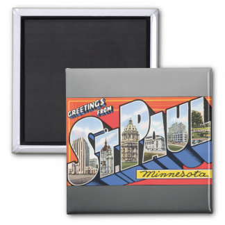 Greetings From St. Paul Minnesota, Vintage Magnet