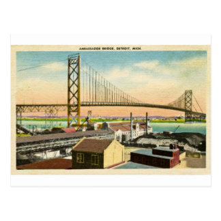 Greetings from the Ambassador Bridge Detroit Postcard