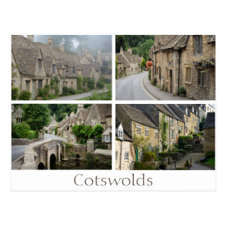 Greetings from the Cotswolds collage text postcard