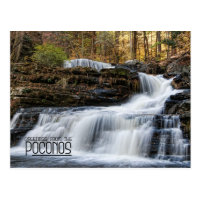 Greetings from the Factory Falls in the Poconos Postcard