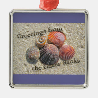 Greetings from the Outer Banks Seashells Items Metal Ornament