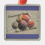 Greetings from the Outer Banks Seashells Items Square Metal Christmas Ornament
