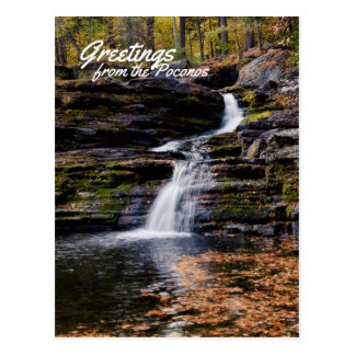 Greetings from the Poconos Autumn Waterfall Scene Postcard