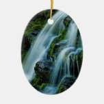 Greetings from the Poconos Beautiful Waterfall Double-Sided Oval Ceramic Christmas Ornament