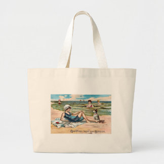 Greetings from the Seaside!  Vintage postcard Canvas Bag