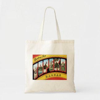 Greetings From Topeka Kansas Tote Bag