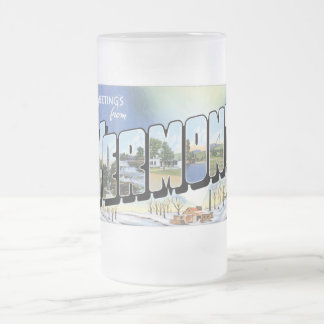 Greetings from Vermont! Vintage Post Card Frosted Glass Beer Mug