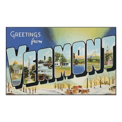 Greetings From Vermont, Vintage Print