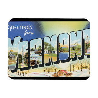 Greetings from Vermont_Vintage Travel Poster Magnet