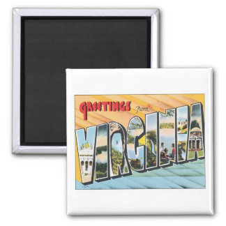 Greetings From Virginia VA USA 2 Inch Square Magnet