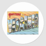 Greetings From Virginia VA USA Round Sticker