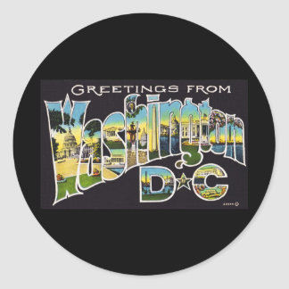 Greetings from Washington D.C. Classic Round Sticker