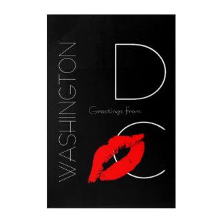 Greetings from Washington D.C. Red Lipstick Kiss Acrylic Wall Art