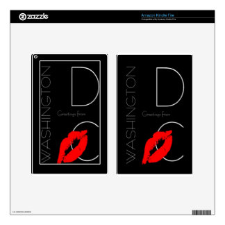 Greetings from Washington D.C. Red Lipstick Kiss Kindle Fire Decals