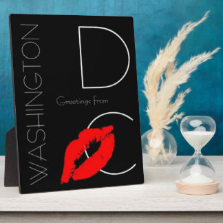 Greetings from Washington D.C. Red Lipstick Kiss Plaque