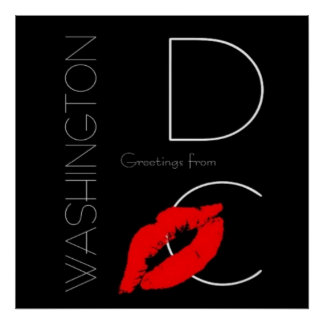 Greetings from Washington D.C. Red Lipstick Kiss Poster
