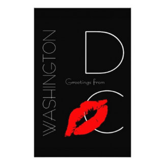 Greetings from Washington D.C. Red Lipstick Kiss Stationery