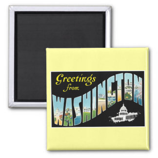 Greetings from Washington D.C.!  Vintage Post Card 2 Inch Square Magnet