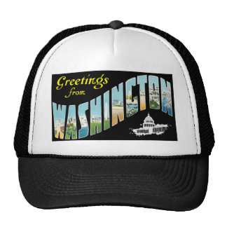 Greetings from Washington D.C.!  Vintage Post Card Trucker Hat