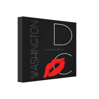 Greetings from Washington DC Red Lipstick Kiss Canvas Print