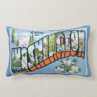 Greetings from Washington State!  Retro Road Trip! Throw Pillow