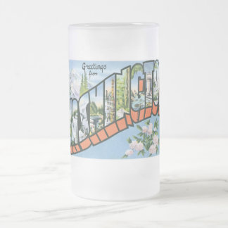 Greetings from Washington state! Vintage Post Card Frosted Glass Beer Mug