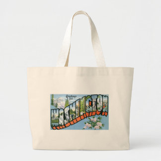 Greetings from Washington state! Vintage Post Card Large Tote Bag
