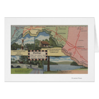 Greetings From Western Maryland (Detailed Map) Card