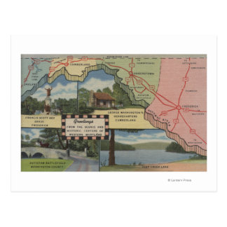 Greetings From Western Maryland (Detailed Map) Postcard